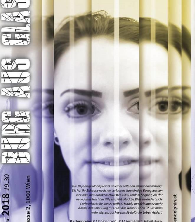 Grafik Frauengesicht verzerrt Text Burg aus Glas