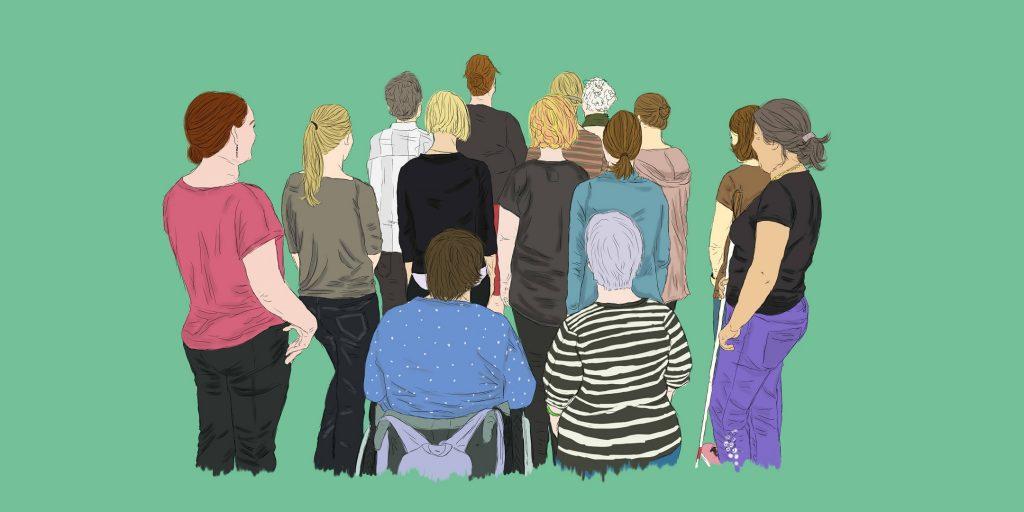 Comic-Stil: Frauengruppe mit Behinderungen steht mit dem Rücken zur fotografierenden Person.