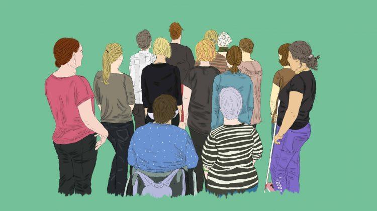 m Comic-Stil: Frauengruppe mit Behinderungen steht mit dem Rücken zur fotografierenden Person.