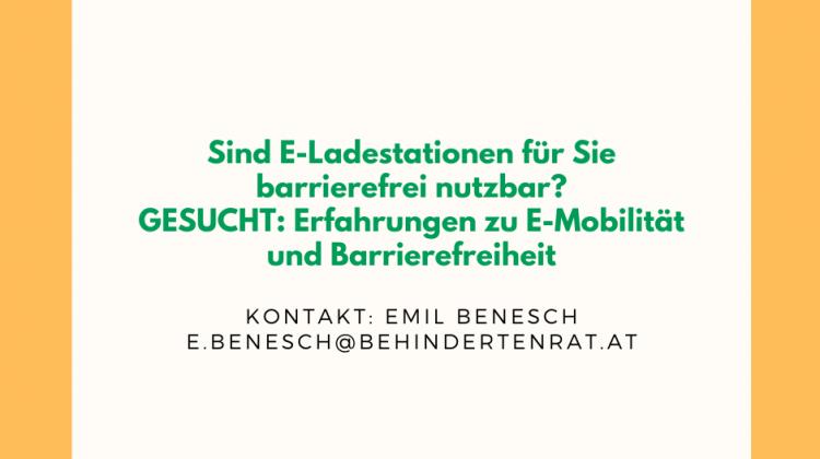 Sind E-Ladestationen für Sie barrierefrei nutzbar? GESUCHT: Erfahrungen zu E-Mobilität und Barrierefreiheit