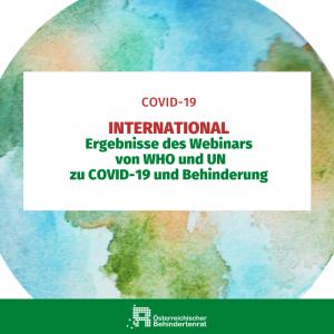 Ergebnisse des Webinars von WHO und UN zu COVID-19 und Behinderung