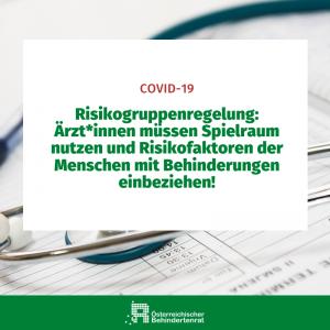 Risikogruppenregelung: Ärzt*innen müssen Spielraum nutzen und Risikofaktoren der Menschen mit Behinderugnen einbeziehen!