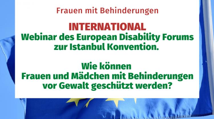 Webinar des Europan Disability Forums zur Instanbul Konvention. Wie können Frauen und Mädchen mit Behinderungen vor Gewalt geschützt werden?