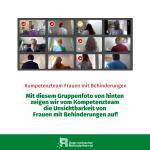 Mit diesem Gruppenfoto von hinten zeigen wir vom Kompetenzteam die Unsichtbarkeit von Frauen mit Behinderugnen auf!