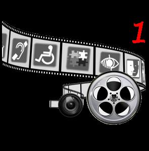 Logo: Art without Limits Filmrolle mit Icons zum Thema Behinderung