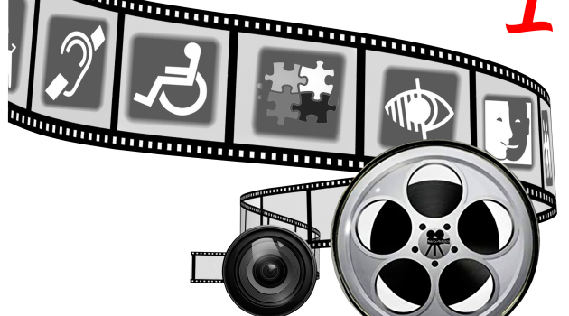 Logo: Art without Limits Filmrolle mit Icons zum Thema Behinderung