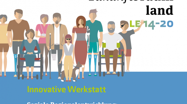 Zeichnung von sehr vielen unterschiedlichen Menschen mit und ohne Behinderung
