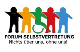 5 gezeichnete Personen halten einander an den Schultern. Sie haben unterschiedliche Farben. Eine gezeichnete Preson nutzt einen Rollstuhl. Text: Forum Selbstvertretung. Nichts überuns, ohne uns