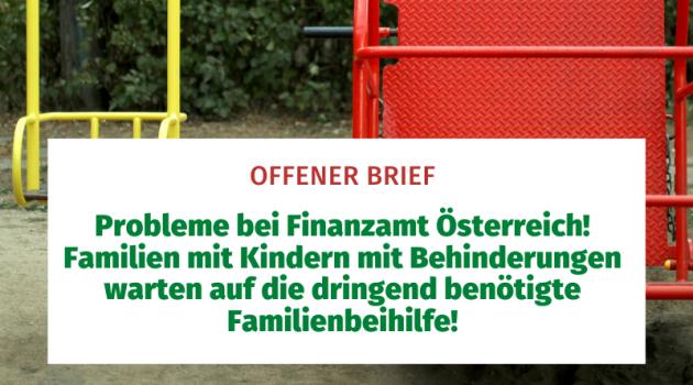 Probleme bei Finanzamt Österreich! Familien mit Kindern mit Behinderungen warten auf die dringend benötigte Familienbeihilfe!